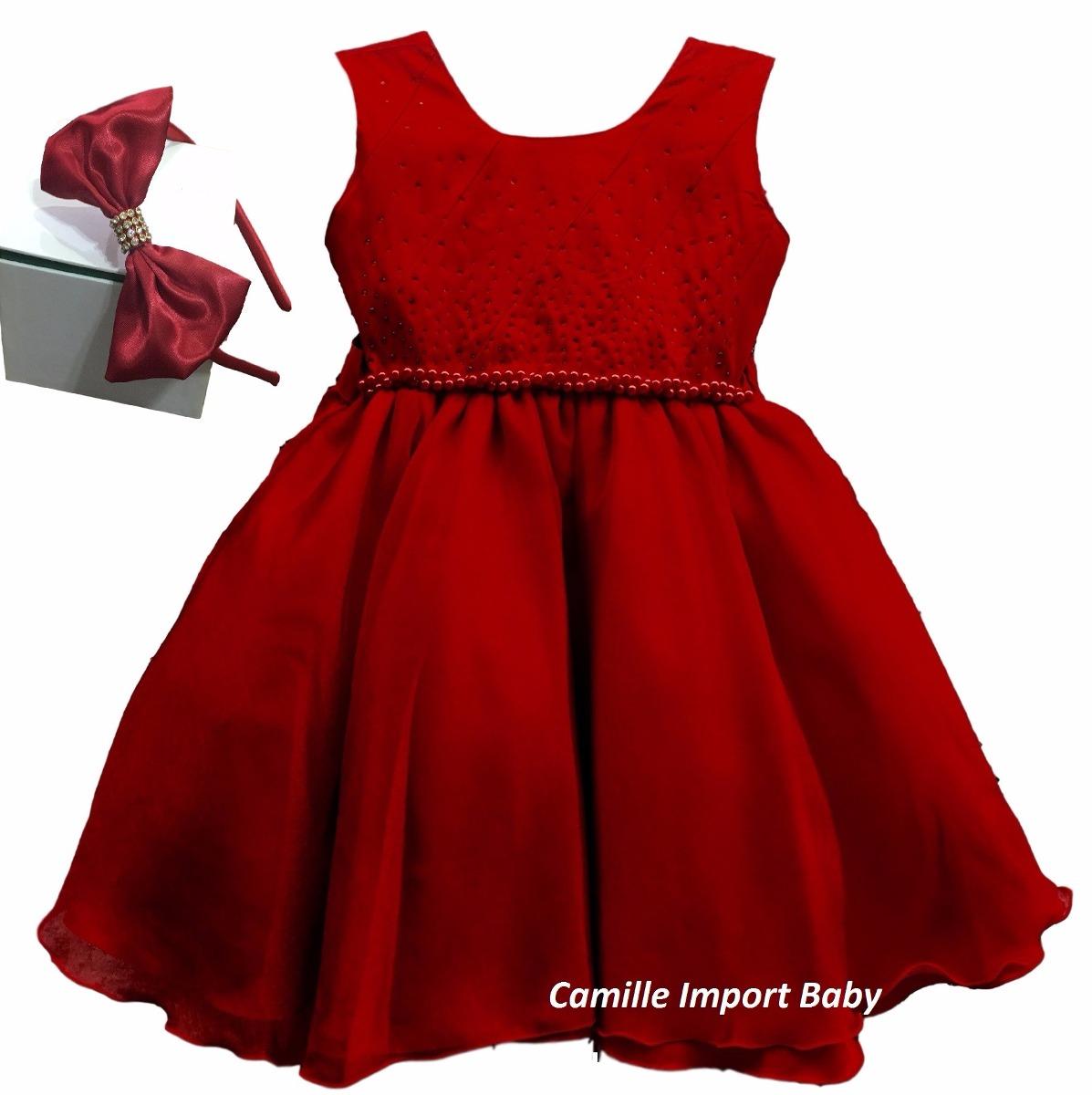 ebf155ff3ed Vestido Festa Infantil Vermelho Luxo Natal 1 Ao 16 E Tiara - R  100 ...