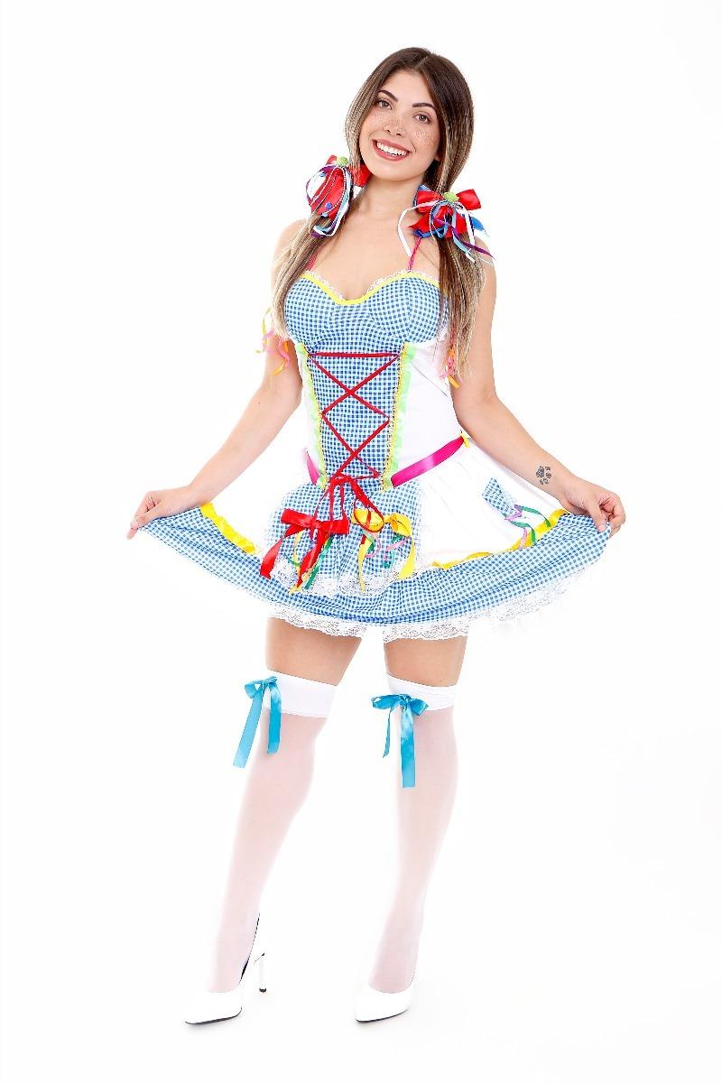 1d7eeda247a66 Vestido Festa Junina Adulto Com E Meia