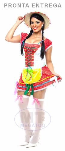 vestido festa junina caipira adulto quadrilha arraia junino