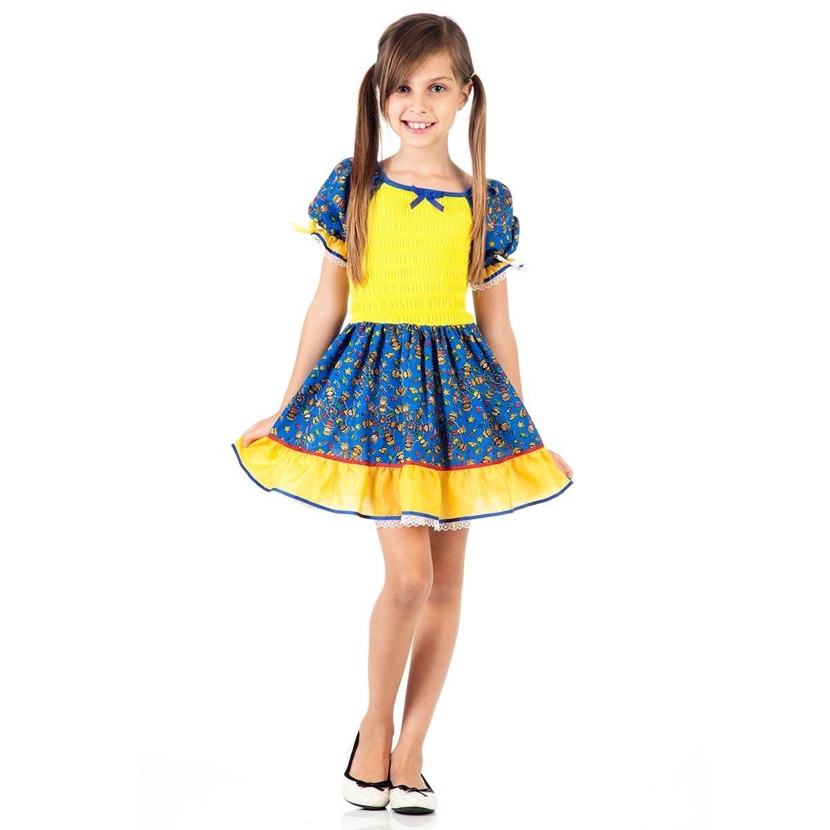 Vestido junino infantil azul