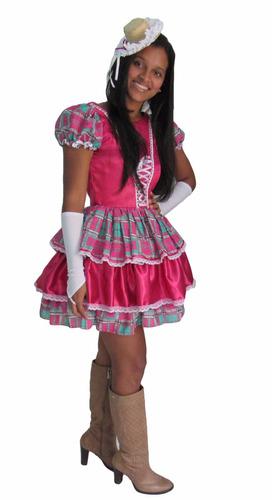 vestido festa junina caipira rosa pink  adulto + luva+ laço