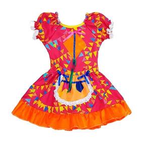 Vestido Festa Junina Infantil Bandeirinhas C Avental 2 á 12