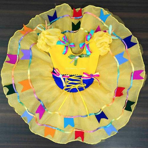 Vestido Festa Junina Infantil Sob Encomenda Bandeirinha Amar