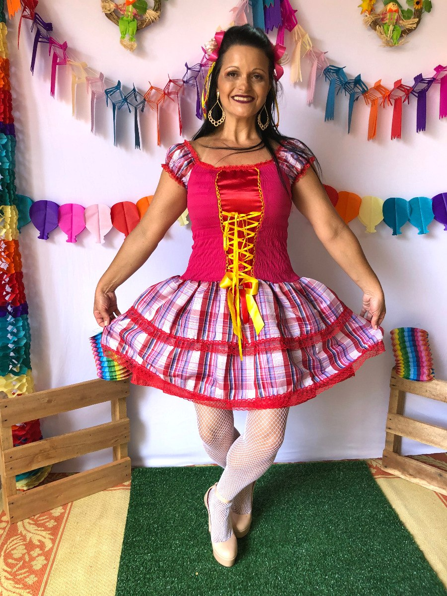 b8f829710f64 Vestido Festa Junina Moderno Pink Lindo Barato 2019 - R$ 119,00 em ...