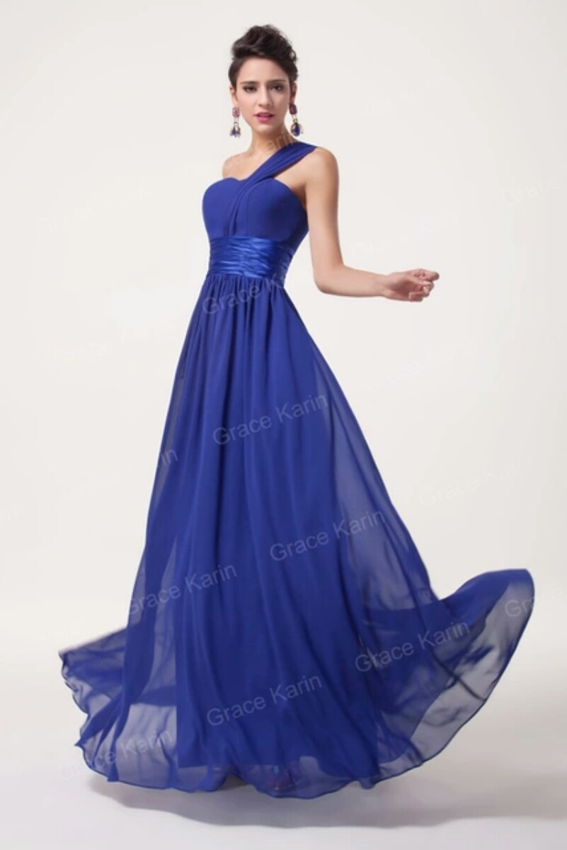 ff27e9263 Vestido De Festa Longo Azul Importado - R  190