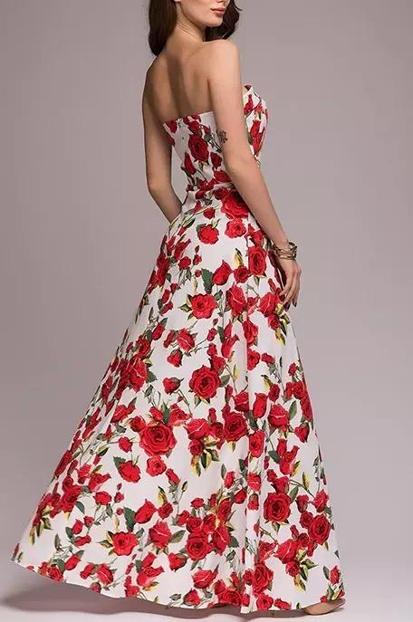 7582da6acf vestido festa longo floral vermelho branco cód 39 · vestido festa longo