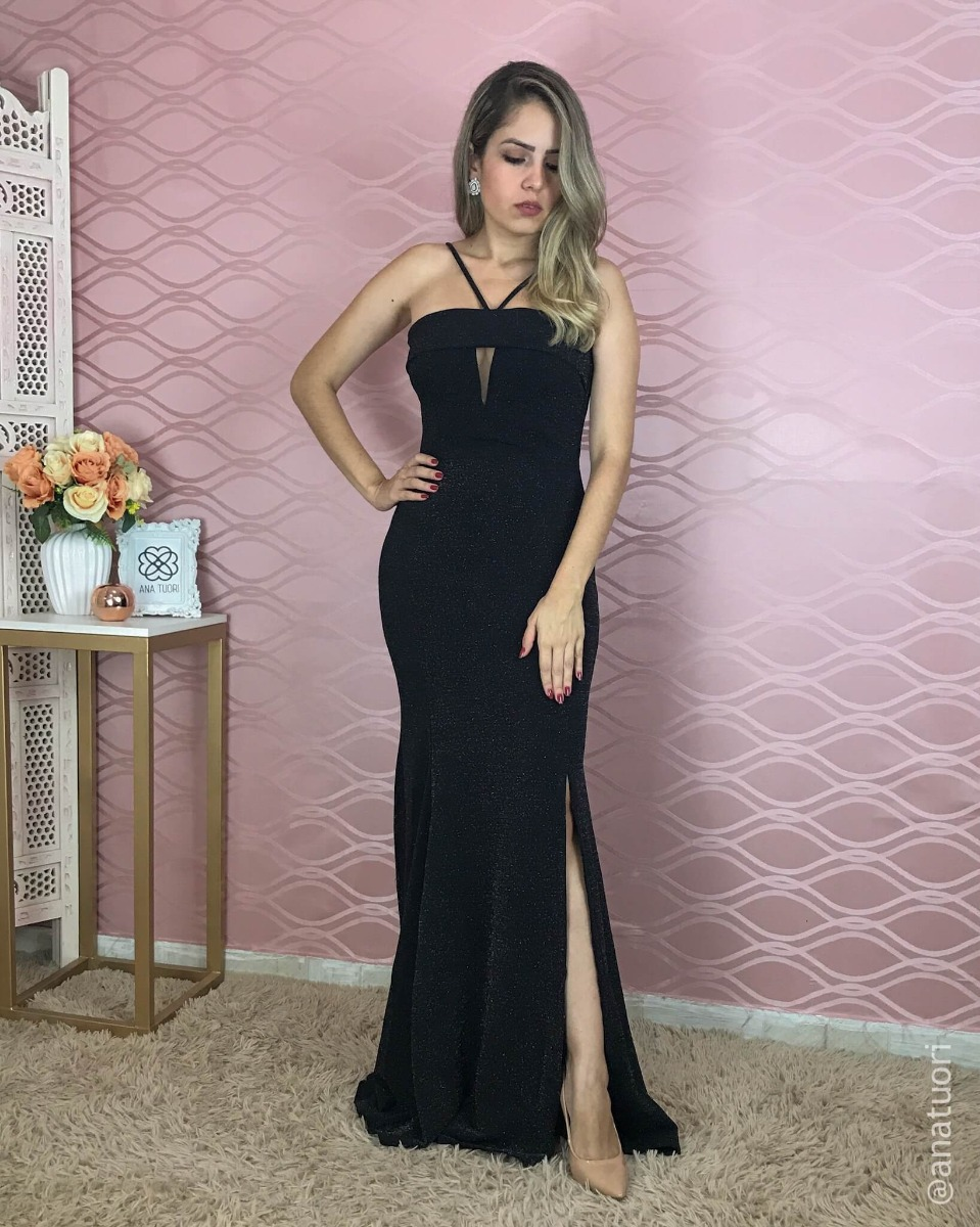 0163fee53 vestido madrinha preto brilho prata festa longo sereia l101. Carregando zoom...  vestido festa longo. Carregando zoom.