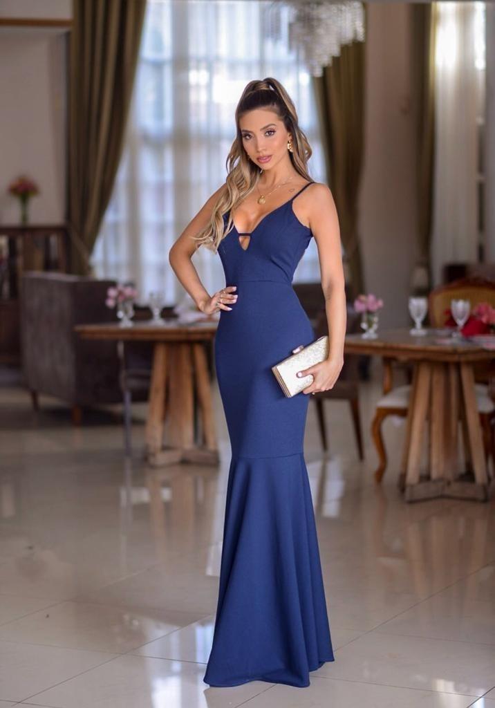 Vestido longo azul marinho mercado livre