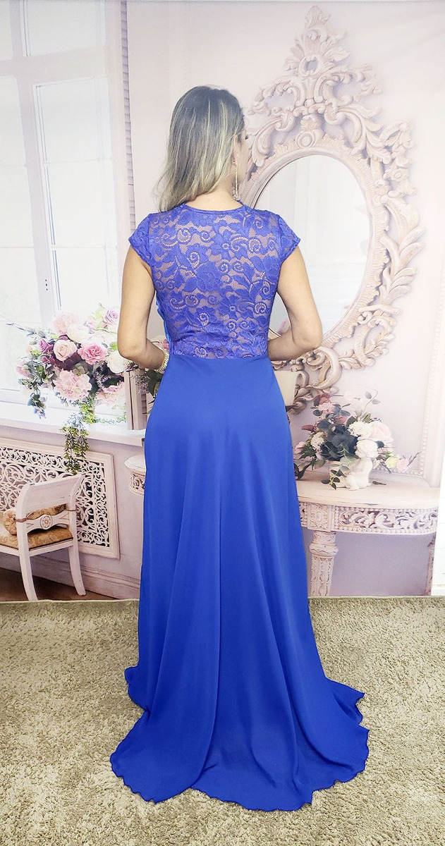 ceec7516b0 Vestido Festa Longo Azul Royal Bic Madrinha