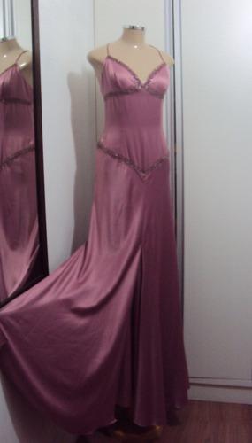 vestido festa longo cetim seda rosé