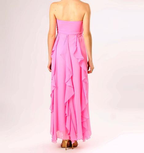 vestido festa longo chifon, grife + echarpe - gf - tam g