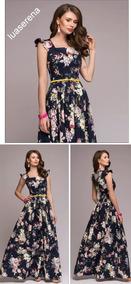 d834ff06bc Vestido Longo Floral Seda - Vestidos Longos Femininas no Mercado Livre  Brasil