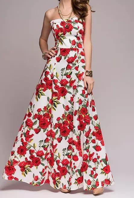 aa18855ec4 Vestido Festa Longo Floral Vermelho branco Cód 39 - R  148