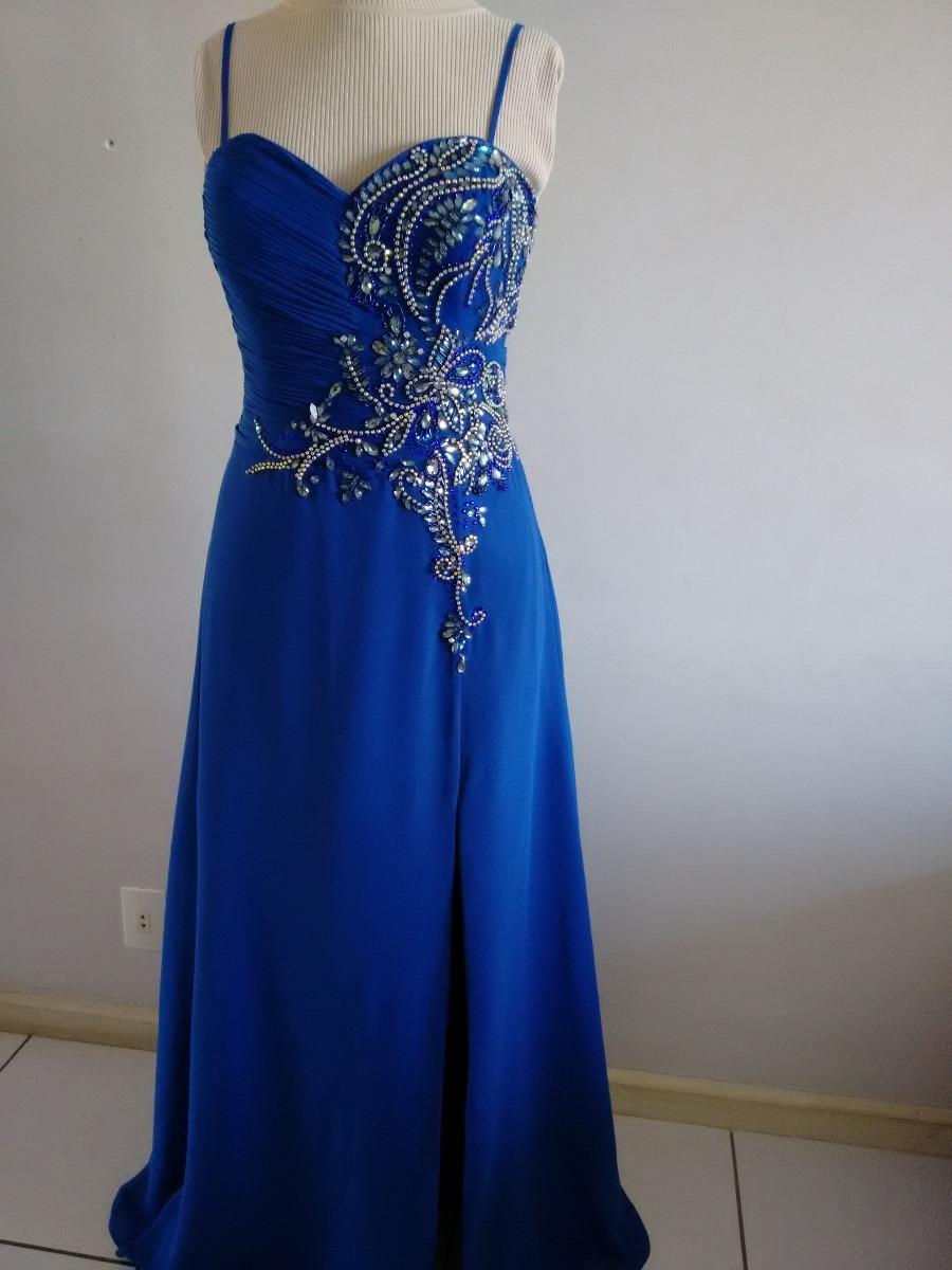 Vestido Festa Longo Madrinha Formatura Azul Royal Bordado