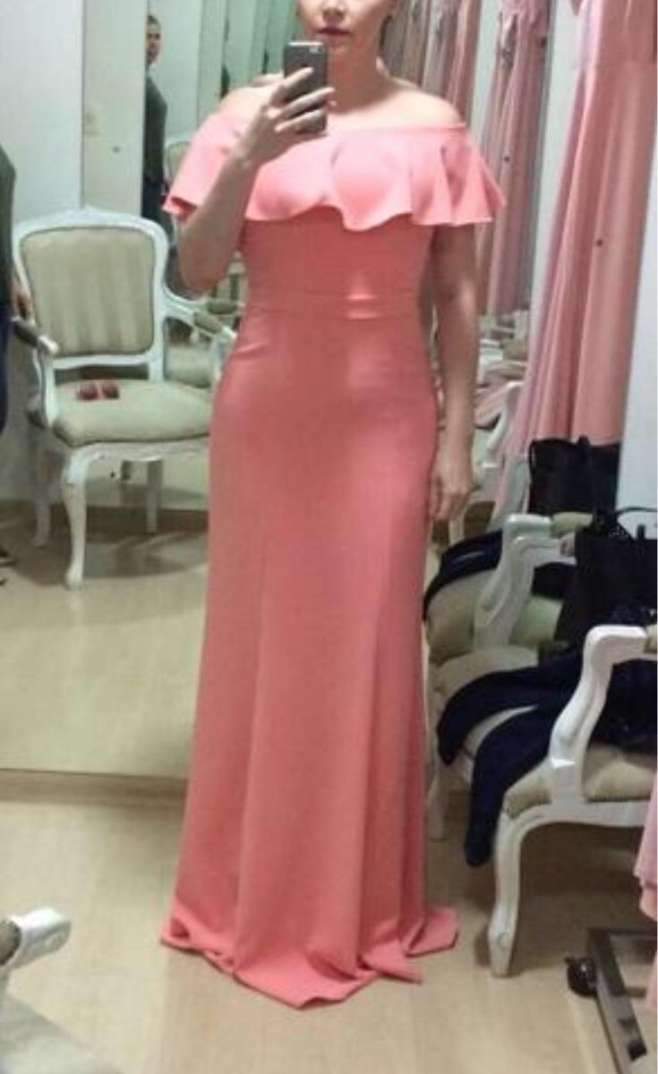 aec242852 Vestido Festa Longo Rosa Ombro A Ombro Babado - R$ 200,00 em Mercado ...