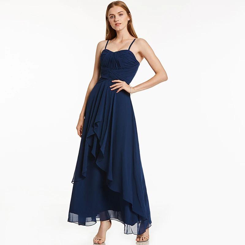 Vestido Festa Longo Seda Chiffon Azul Marinho Cód 74