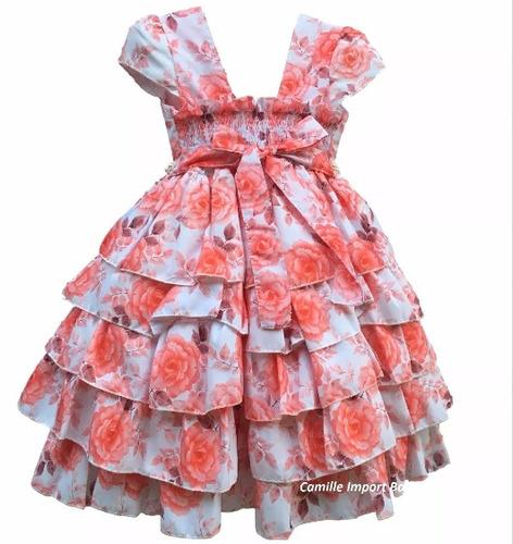 vestido festa luxo floral daminha casamento florista e tiara