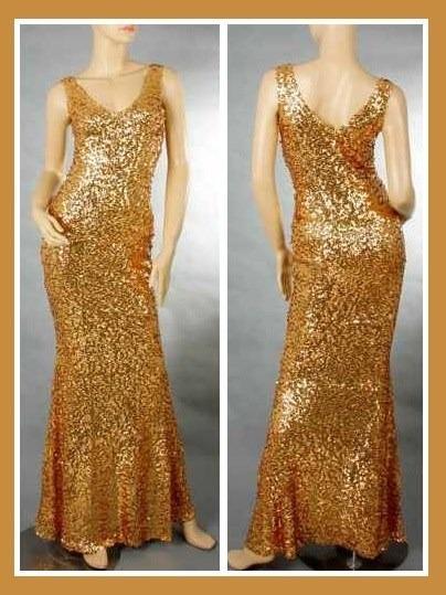 Vestido longo com paete dourado