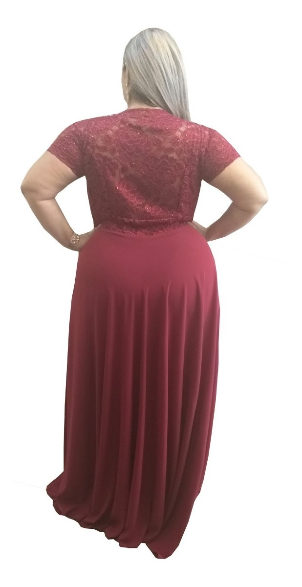 6145c6c4bad0 vestido festa marsala plus size madrinha manga luxo brilho. Carregando zoom.