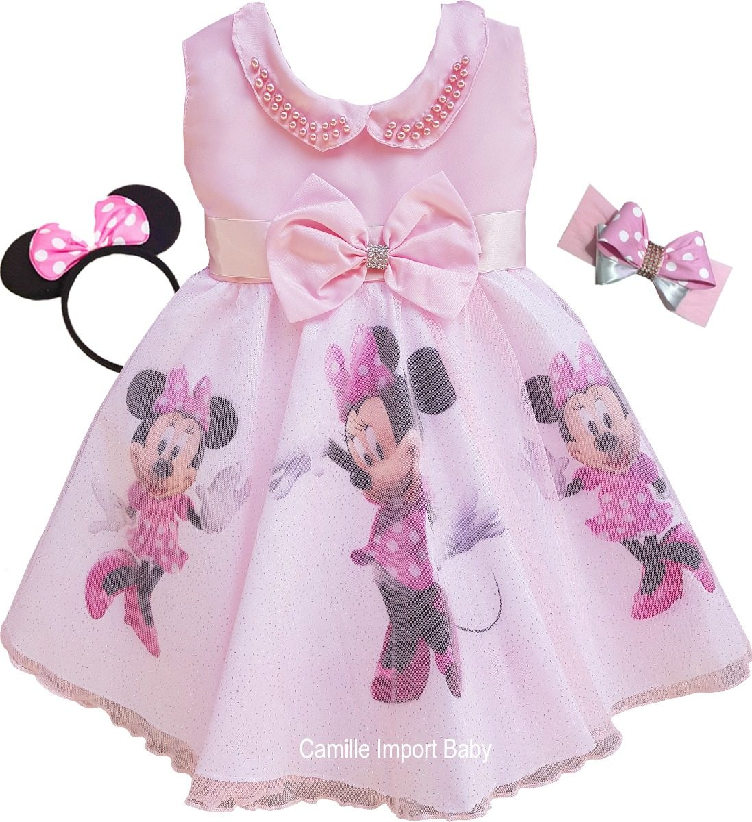 Vestido Festa Minnie Rosa Fashion Infantil Tiaras E Bolero