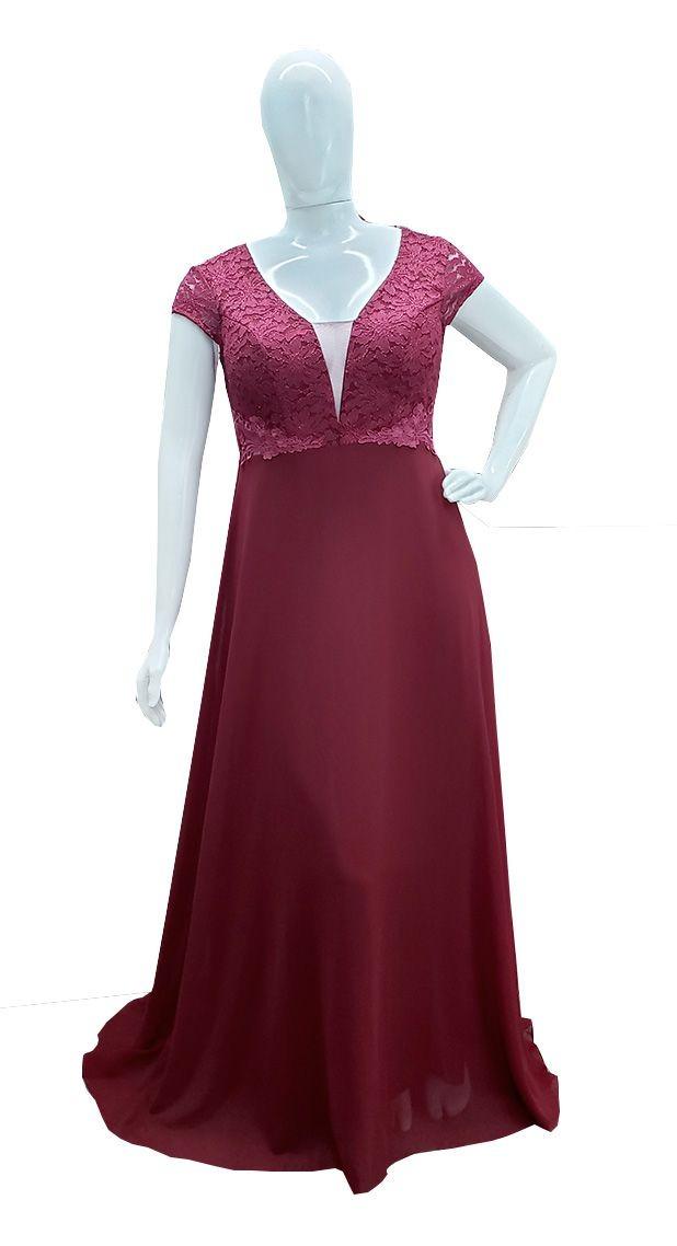 714c0be29af2 vestido festa plus size marsala madrinha, casamento manga. Carregando zoom.
