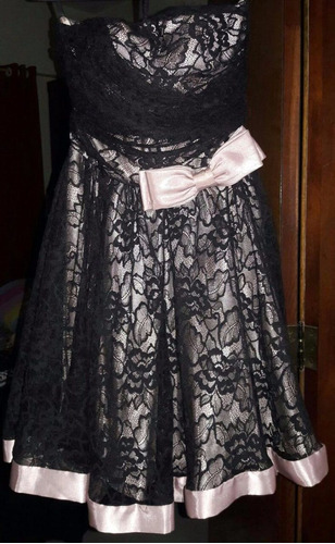 vestido festa renda rosa c/preto 15 anos formatura casamento