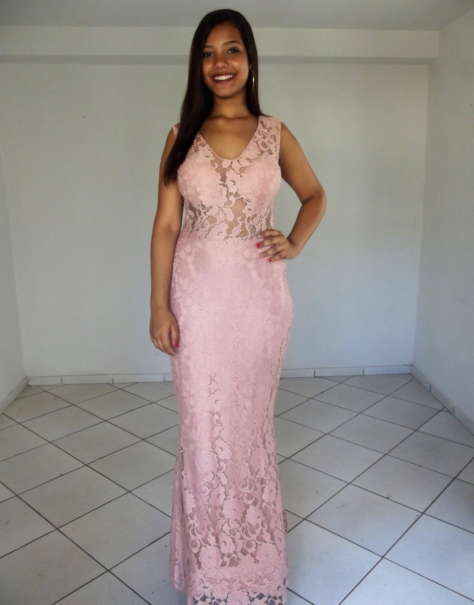 Vestido Festa Rose Longo Lindo Renda De Alta Costura