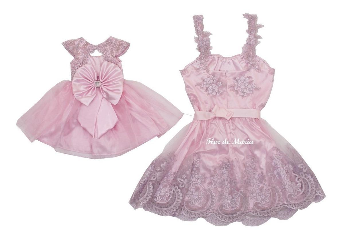 Vestido Festa Tal Mãe Tal Filha Realeza Renda Rosa Bebê Luxo