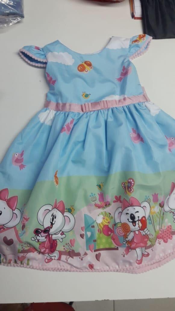 vestido festa temático desenho ratinha r 187 00 em mercado livre