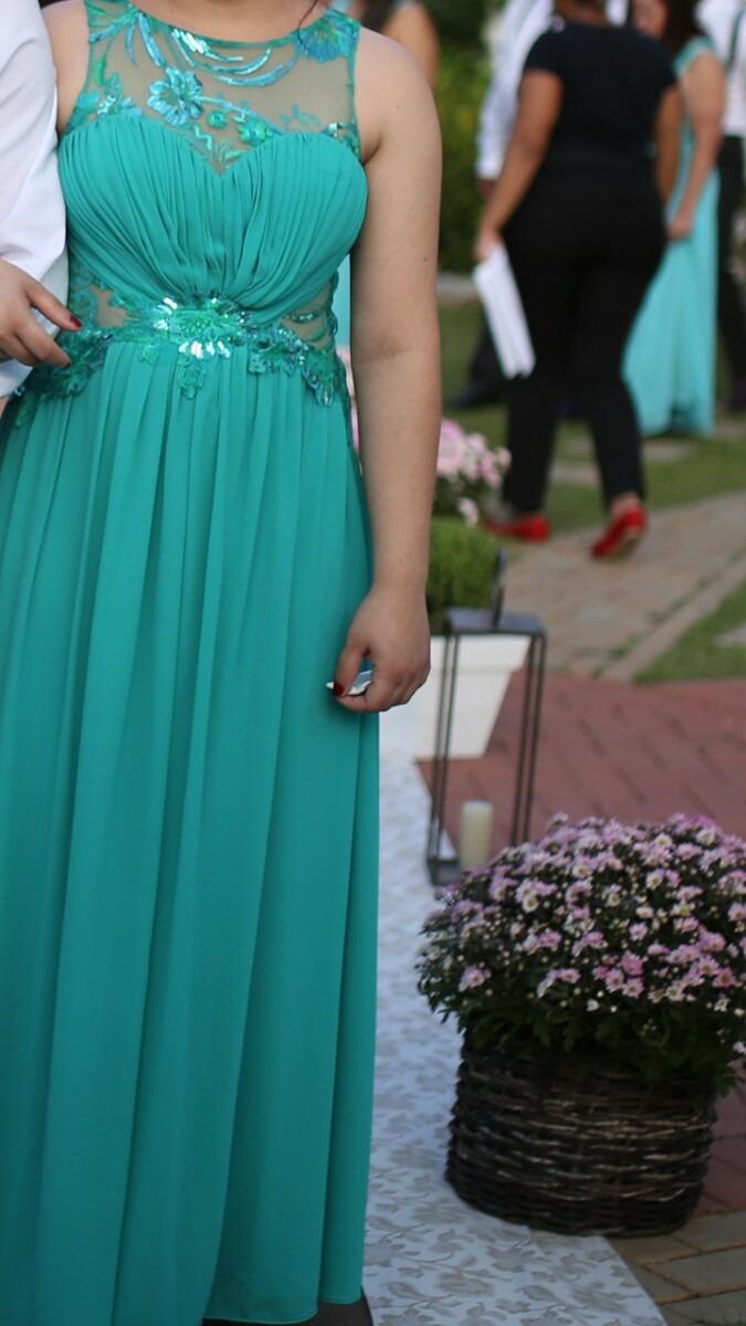 Vestido festa verde tiffany