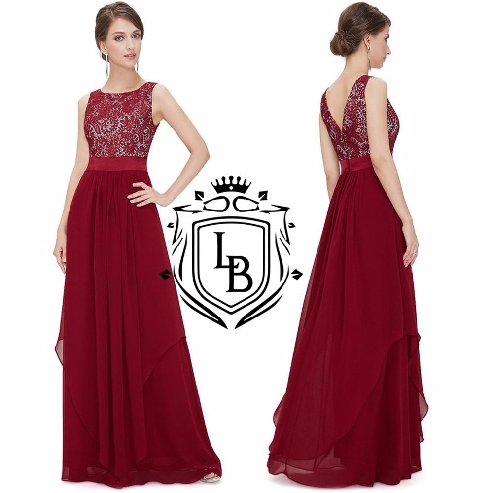 Vestido Festa Vermelho Marsala Renda Formanda Madrinha Pront - R$ 262,00 em Mercado Livre