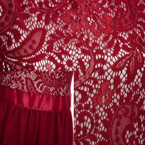 vestido festa vermelho marsala renda formanda madrinha pront