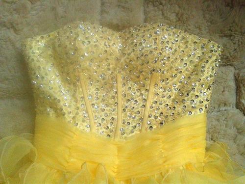 vestido fiesta  amarillo organza  con lenteluelas  nuevo