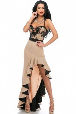 Vestido de fiesta negro y beige
