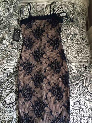 vestido fiesta ax paris encaje navy/nude