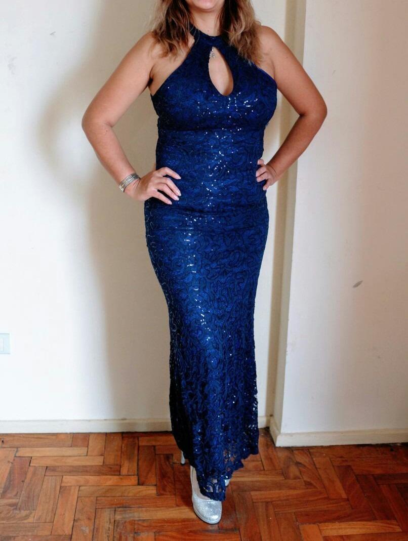 Vestido de fiesta azul francia
