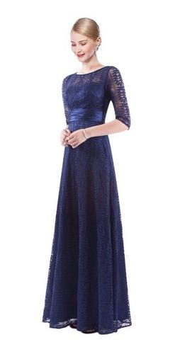vestido fiesta azul manga larga talla 8 10 14 16  ep 119