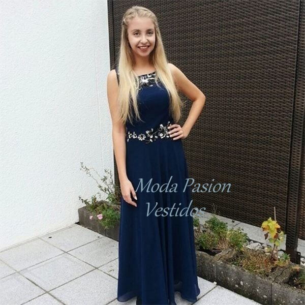 f61d0a2b67 Vestido Fiesta Azul Noche Con Bordado Madrina Moda Pasion -   3.799 ...