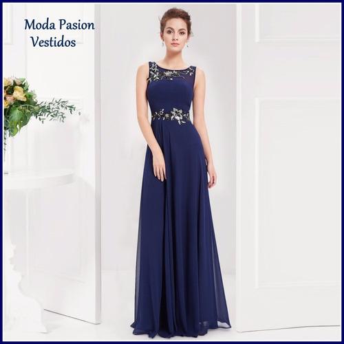 cbf0e13f0 Vestido Fiesta Azul Noche Con Bordado Madrina Moda Pasion