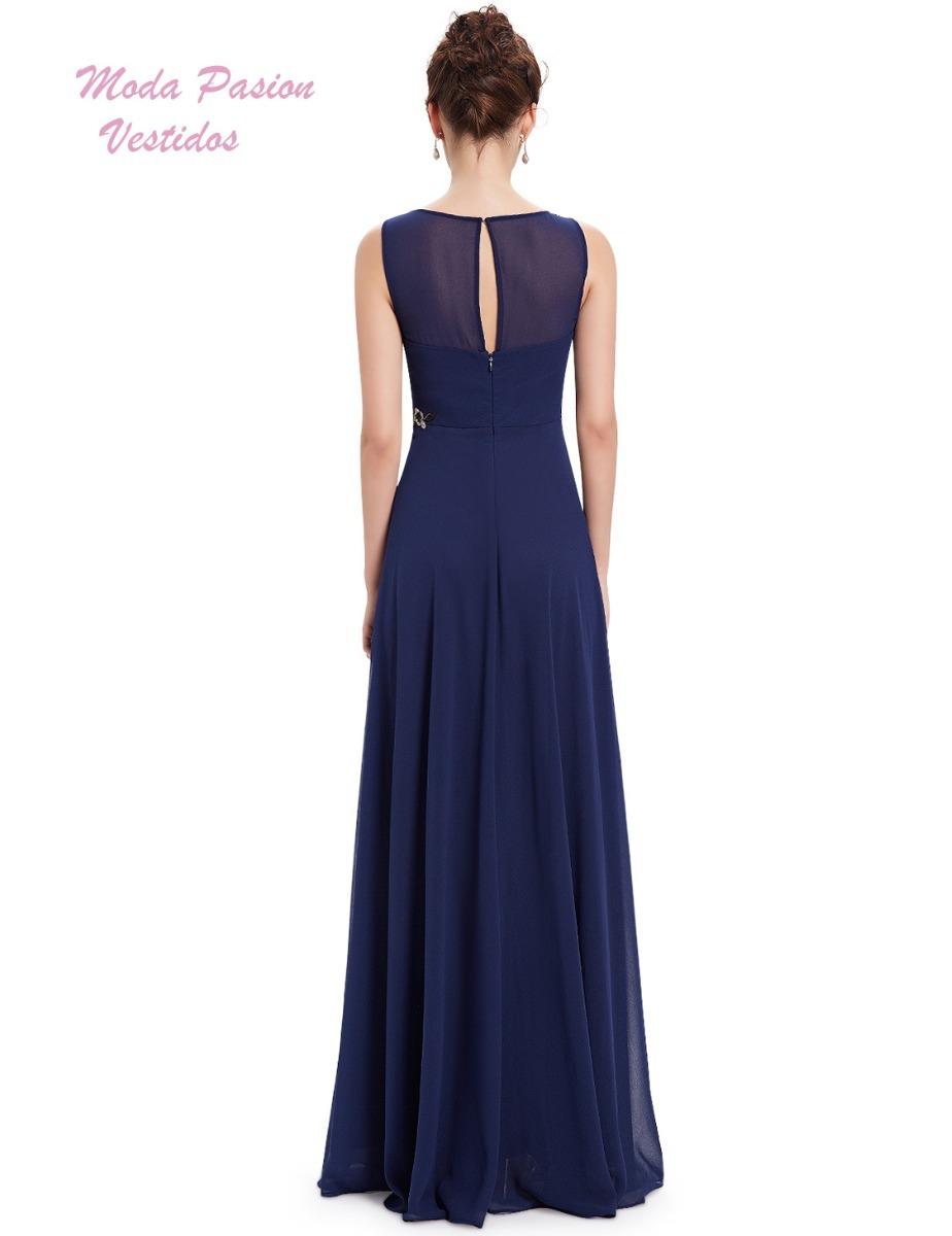 cfcd8aaa84 vestido fiesta azul noche con bordado madrina moda pasion. Cargando zoom.