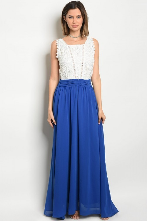 Vestidos fiesta azul y blanco