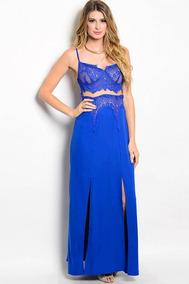 Vestido Azul Rey Cortos Noche Vestidos Largo Nuevo En