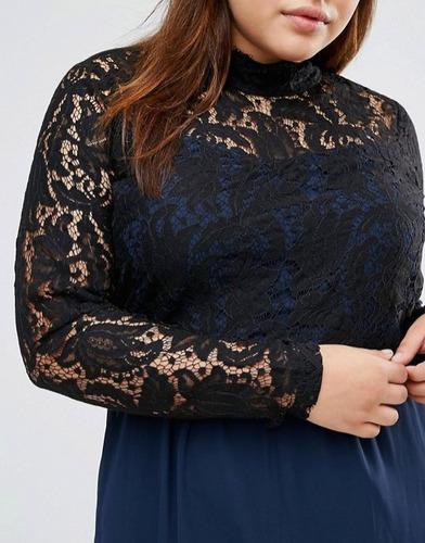 vestido fiesta azul y negro, plus size (talla 48)