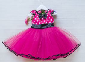 Vestido Fiesta Bautismo Bebes Cumpleaños Minnie Fucsia