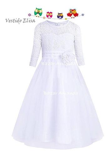 vestido fiesta blanco niña - bazar amanda