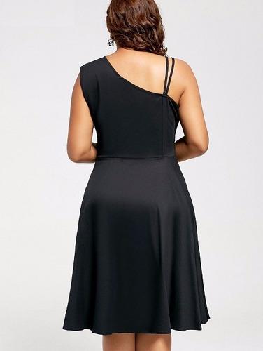 vestido fiesta, bordado, pin up de un hombro, talla grande