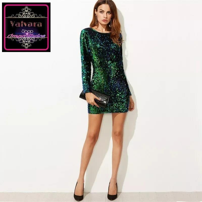 4f16509c9 vestido fiesta casual de noche con lentejuelas 4 colores. Cargando zoom.