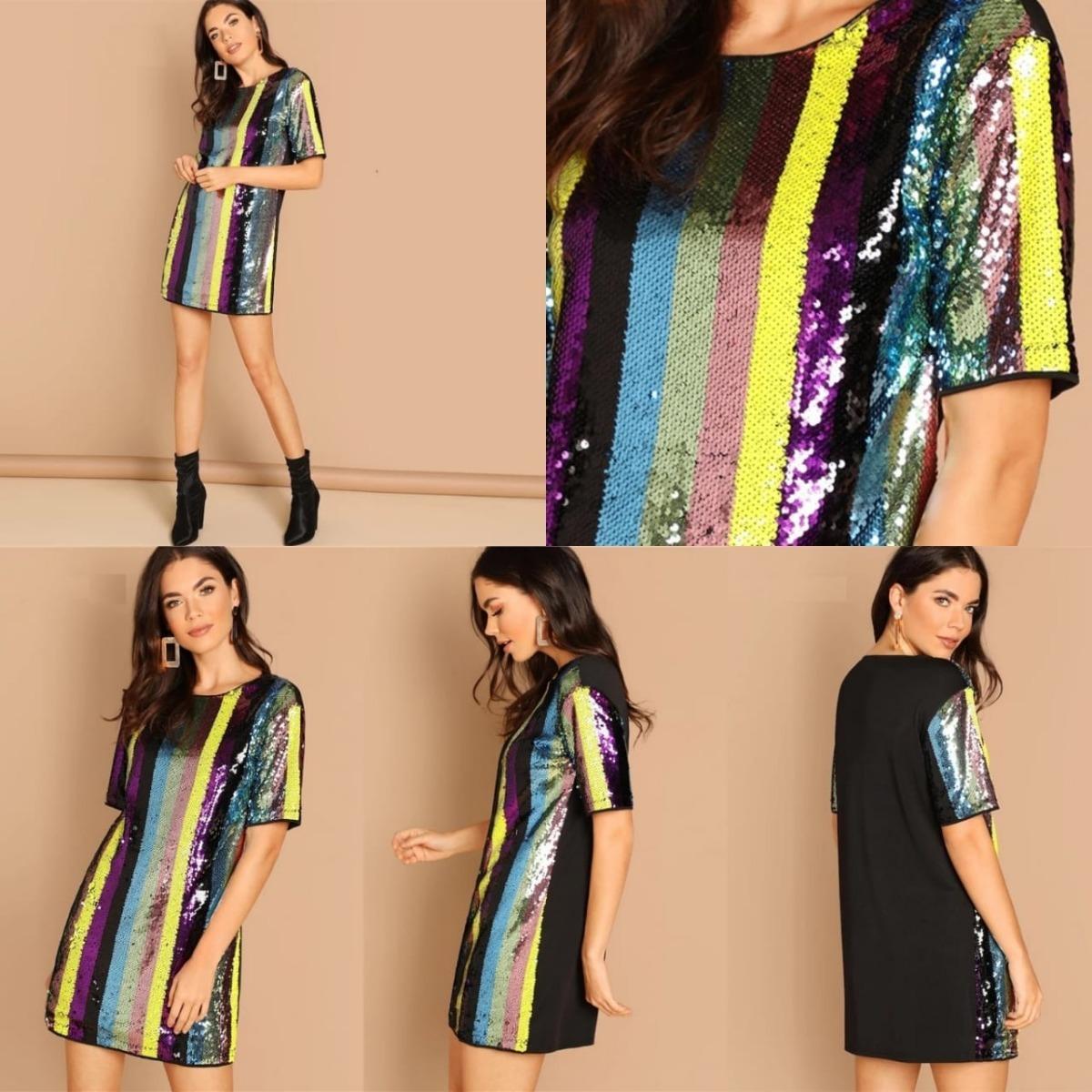 143fa7b4a vestido fiesta casual de noche lentejuelas multicolor. Cargando zoom... 4