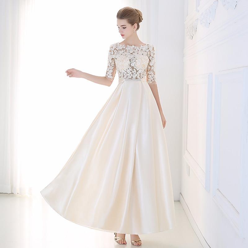 Vestido Fiesta Color Champagne Dama De Honor Talla 6 Ns 02
