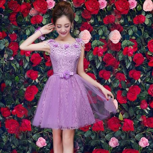 vestido fiesta corto aplicación flores abertura espalda